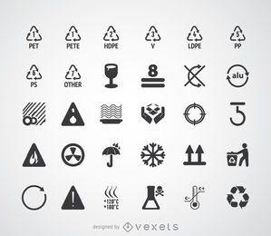 Conjunto de símbolos e pictogramas de reciclagem
