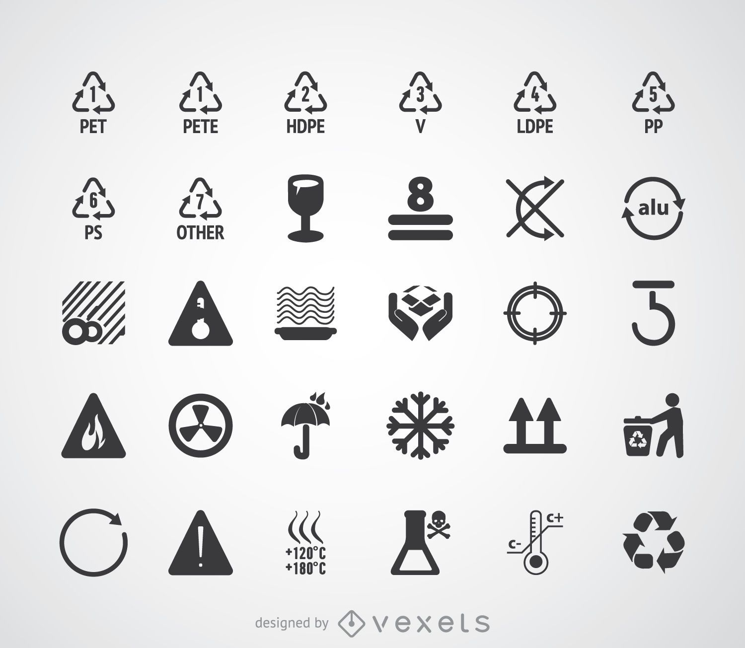 Recycling symbols and pictograms set - Vector download