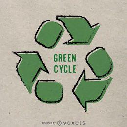 Cartel de reciclaje dibujado a mano