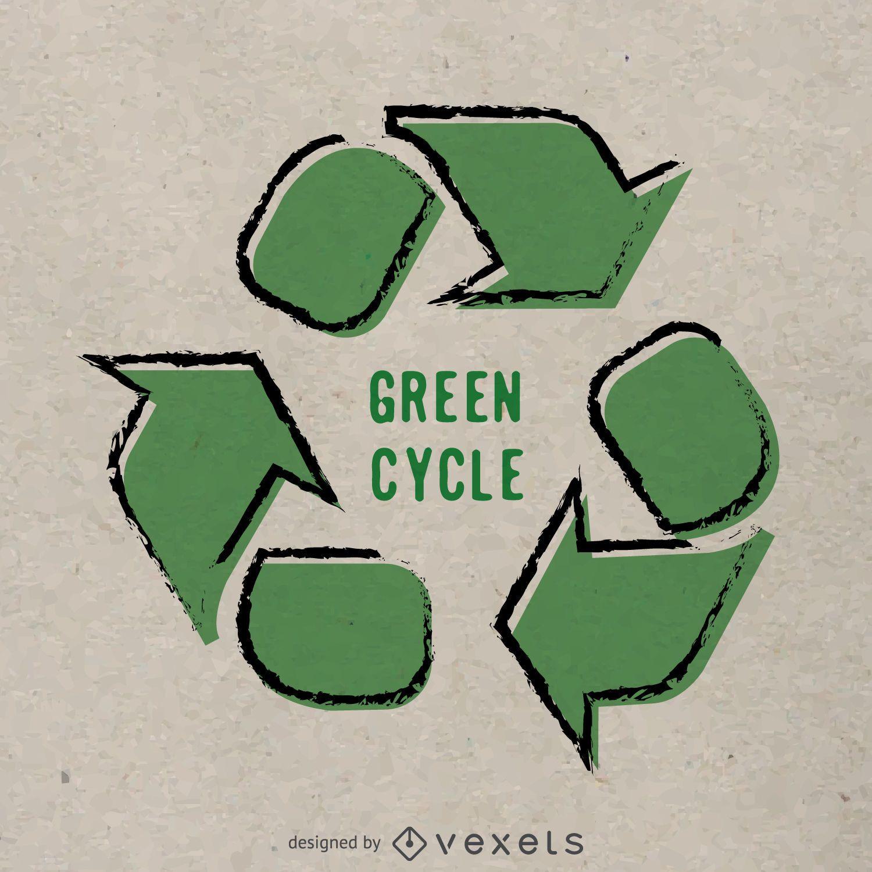 Cartaz de reciclagem desenhado à mão