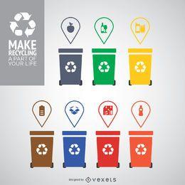 Diferentes recipientes para reciclagem coloridas