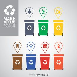 Different colored recycling bins