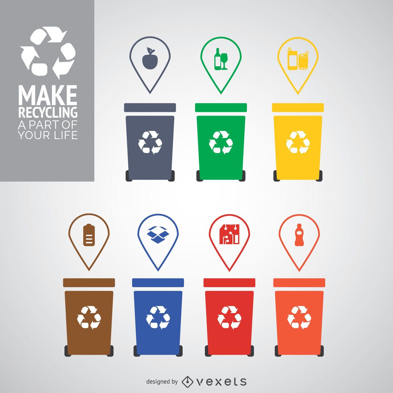 Latas de reciclagem de cores diferentes