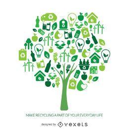 árvore de reciclagem com ícones da ecologia