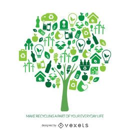 Recycle tree with ecology icons