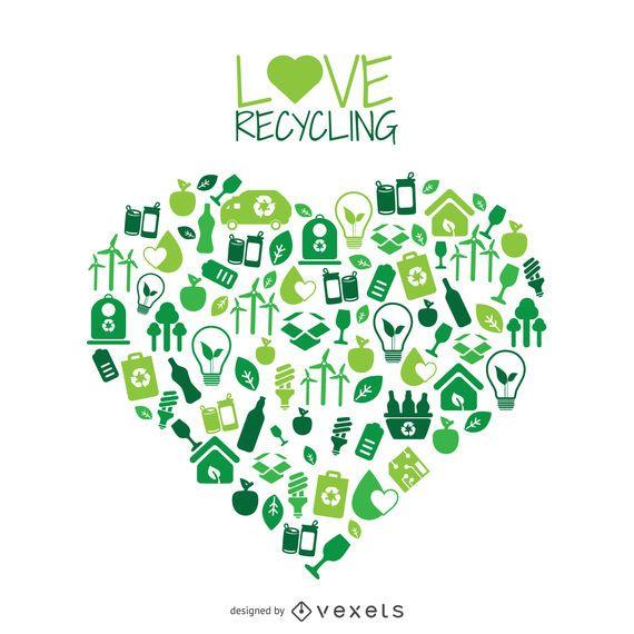 Coração com ícones de reciclagem e meio ambiente