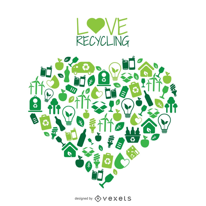 Corazón con el reciclaje y el medio ambiente iconos - Descargar vector