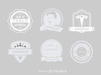 Tesla moderno aprovado conjunto de etiquetas