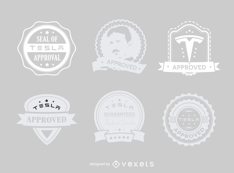 Tesla approved hipster label set