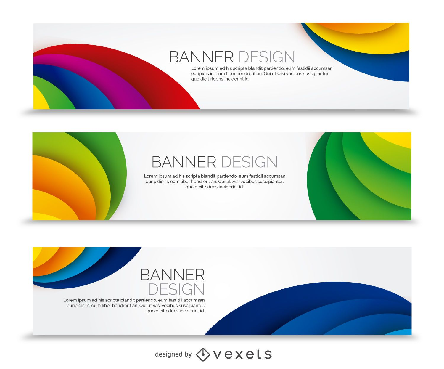 Colorful banner set with curves
