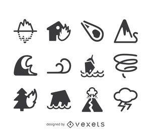 Conjunto de iconos de los desastres naturales