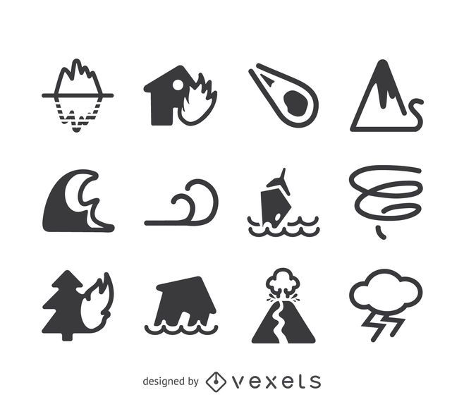 Natural Disaster Icon Set Vector Download