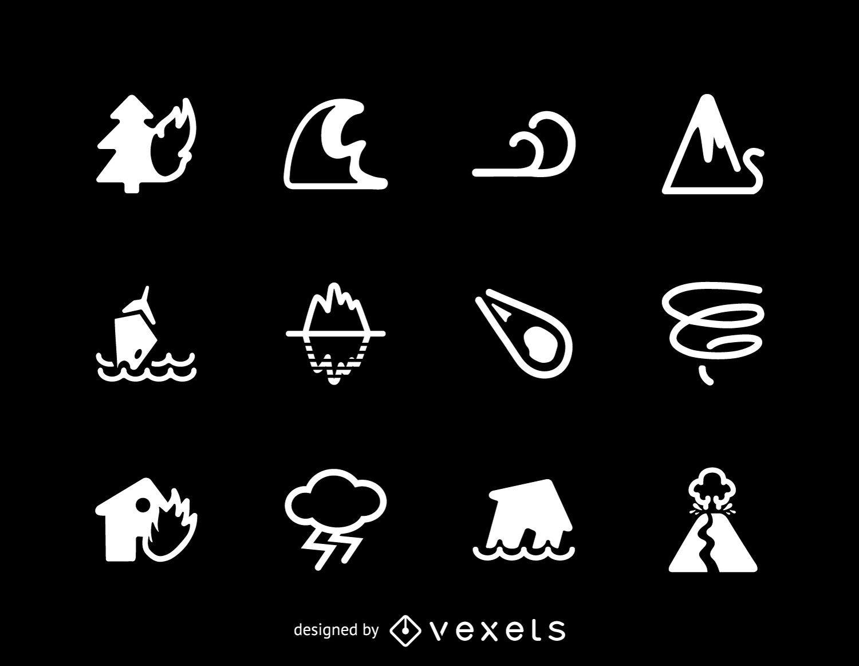 Colección de iconos de desastres naturales