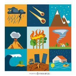 Conjunto de iconos planos de desastre y crisis