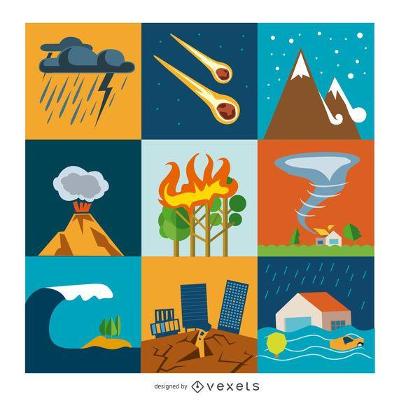 Conjunto de ícones plana de desastre e crise