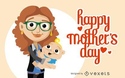 Cartão do dia de mãe feliz