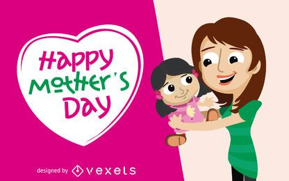 Tarjeta de felicitación del día de la madre con hija