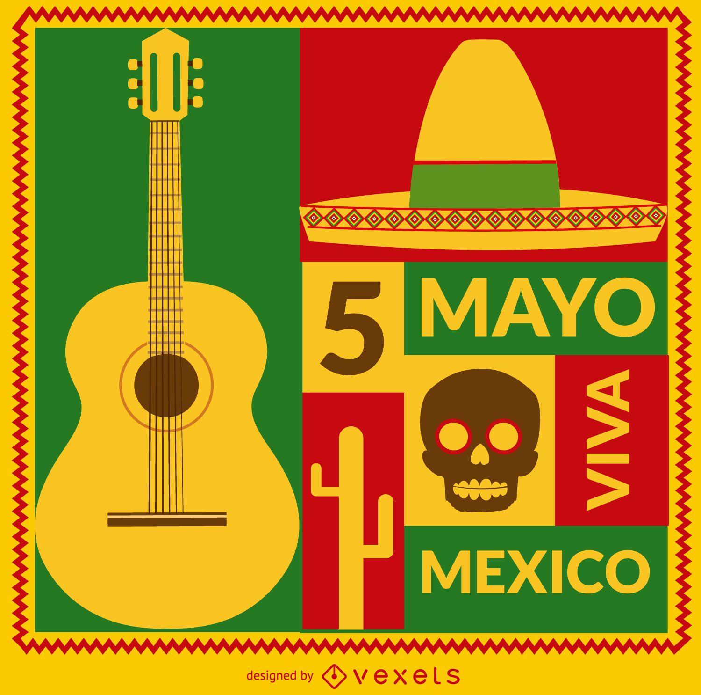 Cartão Viva Mexico 5 de mayo
