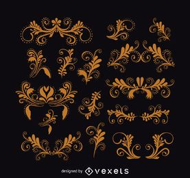 Conjunto de adornos de remolinos vintage