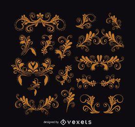 Conjunto de ornamento vintage redemoinhos