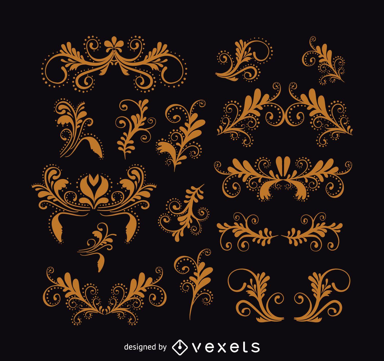 Vintage swirls ornament set
