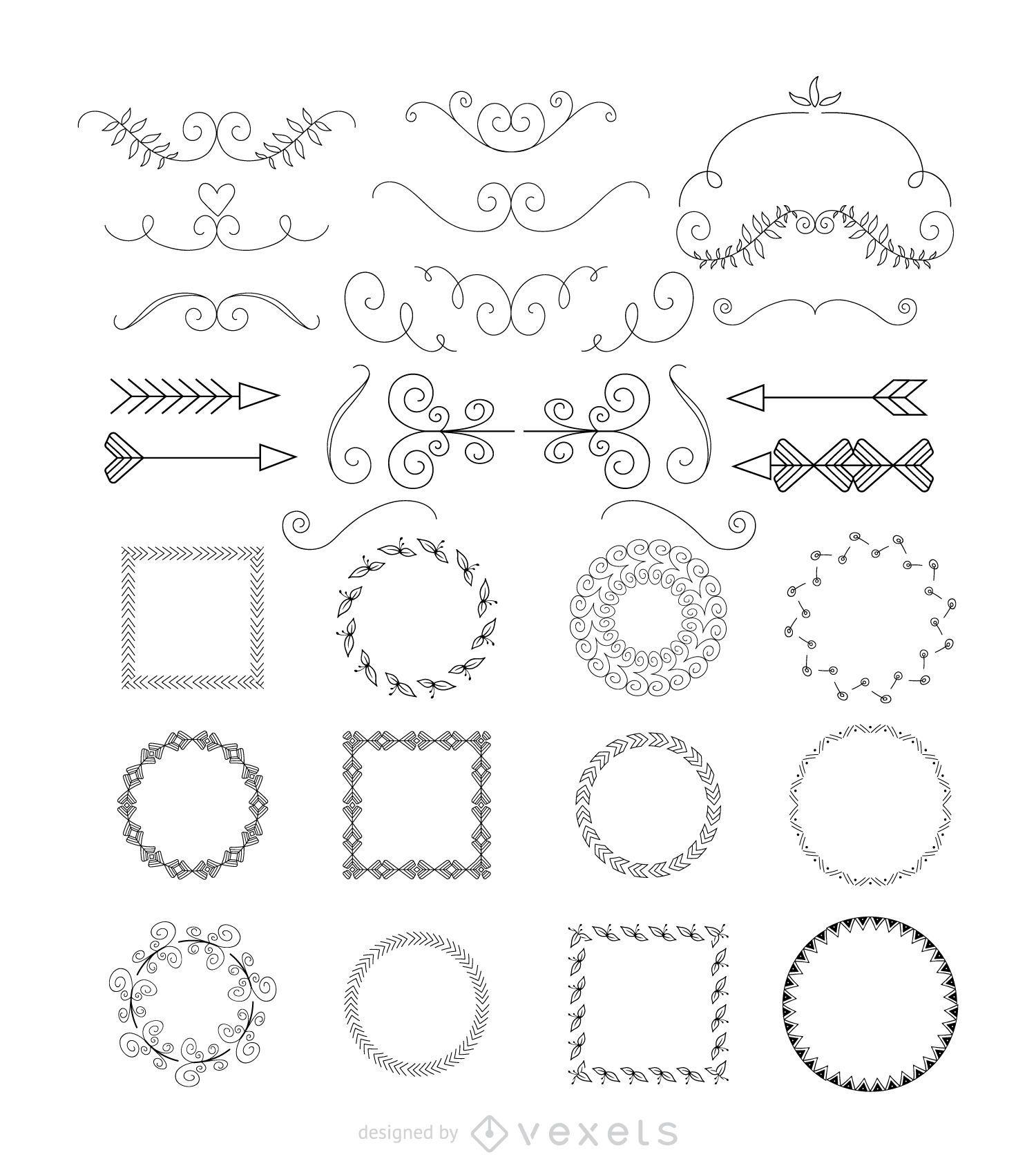 Las flechas y marcos de recolección - Descargar vector