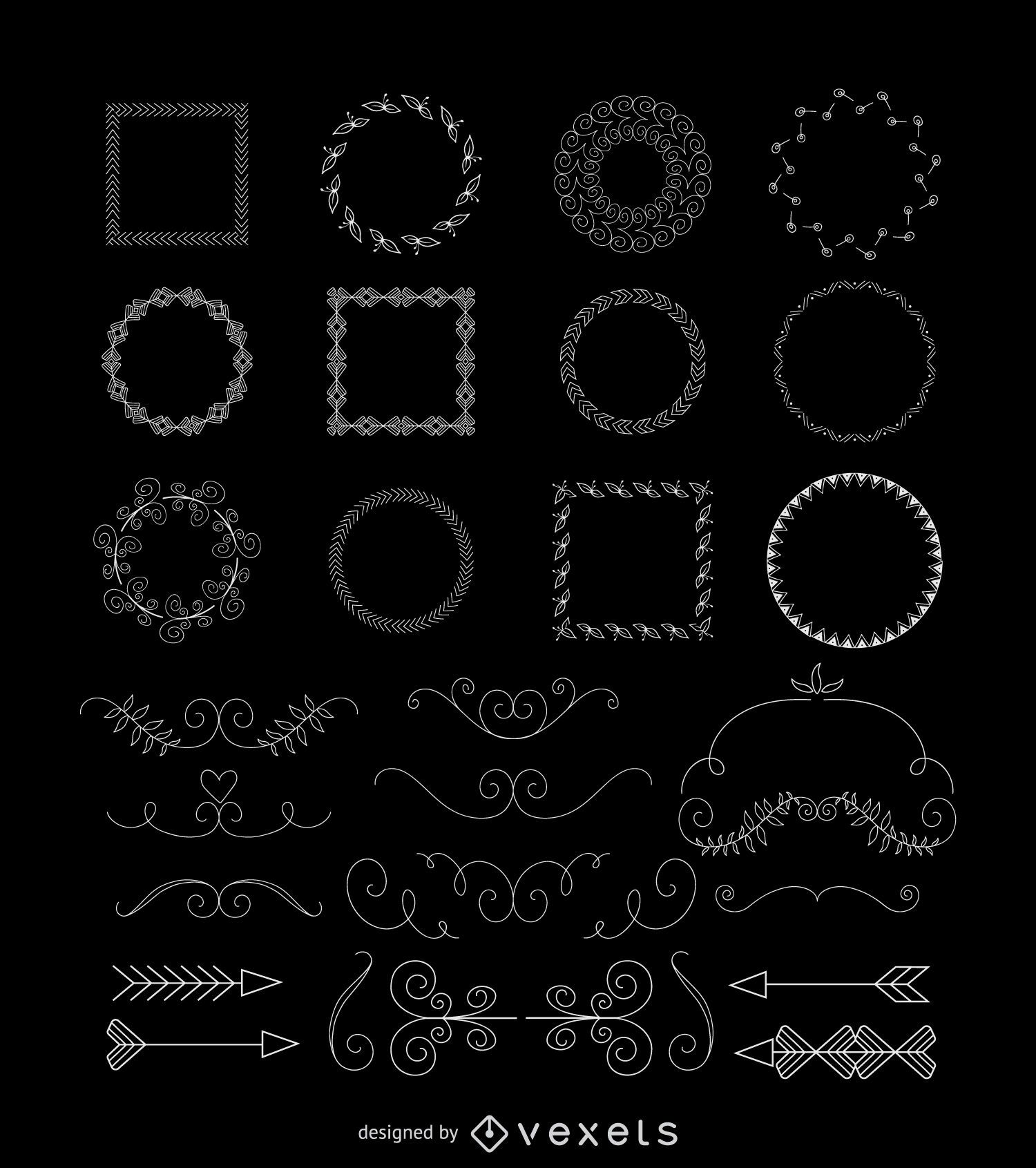 Conjunto de adornos dibujados a mano
