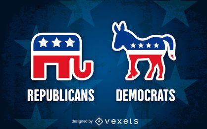 símbolos republicanos e democratas do partido