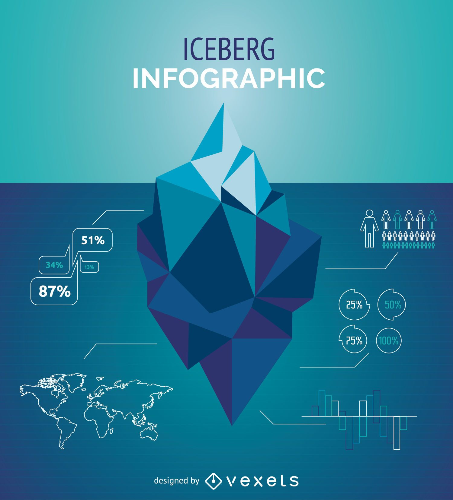iceberg infographic template vector download