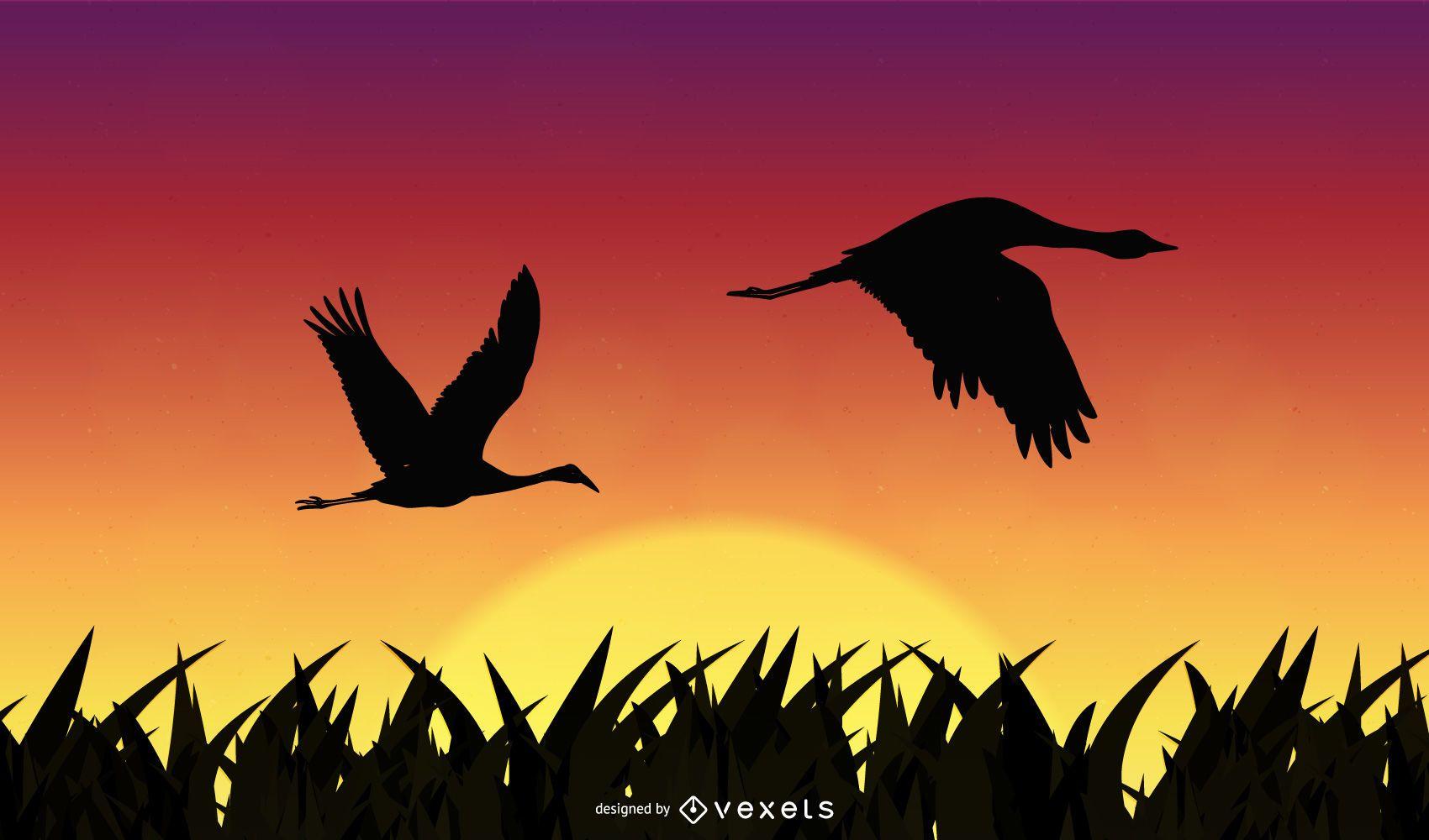 Sunshine with flying birds