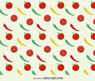 Fundo de tomates e pimentos