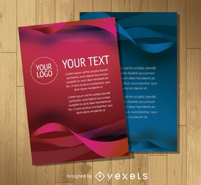 Flyer template with waves