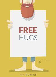 Abraços grátis sinal ou cartaz
