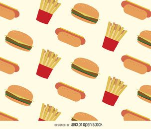 Patrón de hot dogs, hamburguesas y papas fritas.
