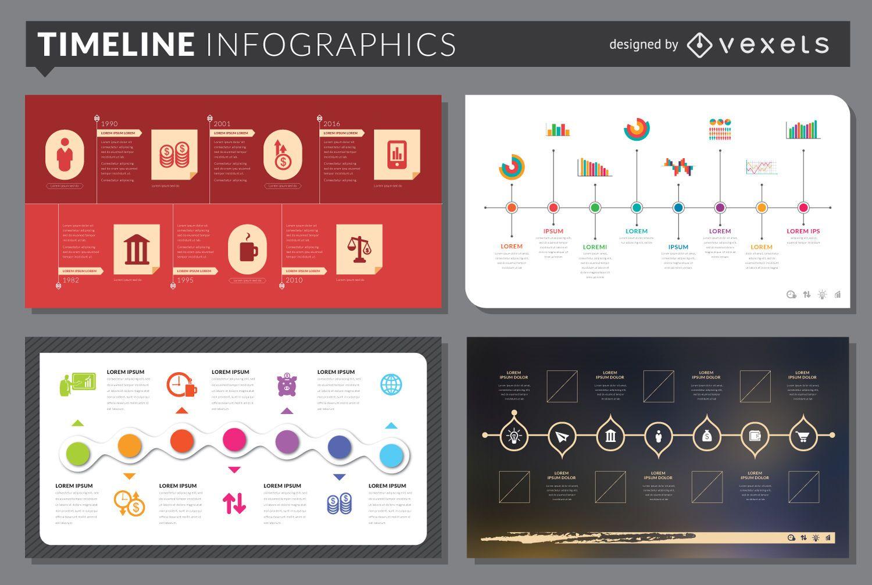 Conjunto de plantillas de infografía de línea de tiempo