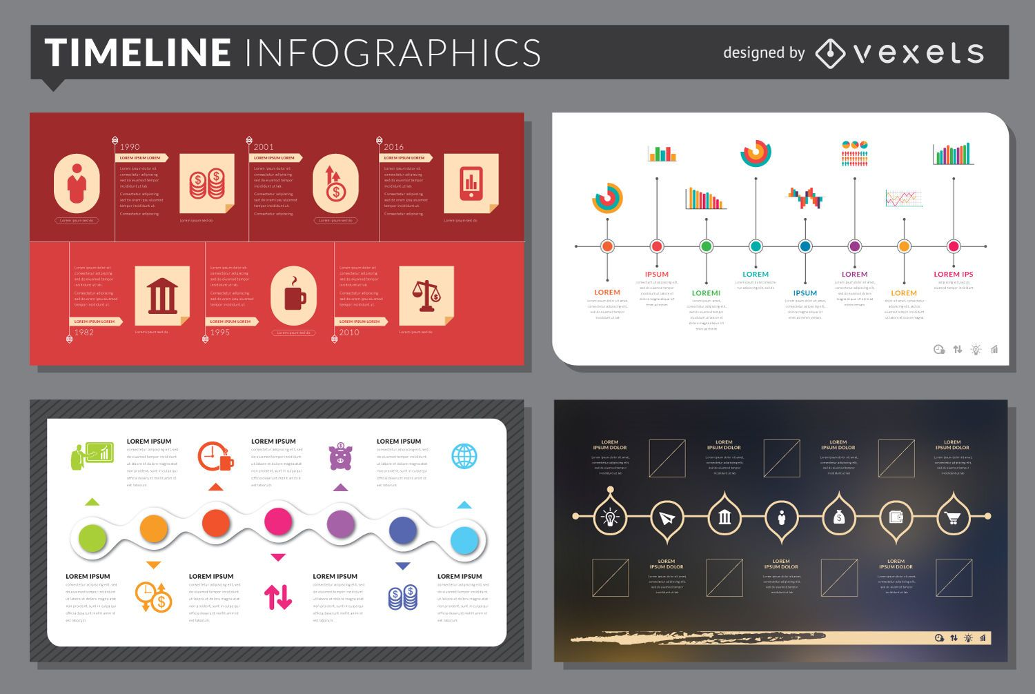 Timeline infographic template set