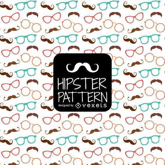 Padrão de bigode de óculos hipster