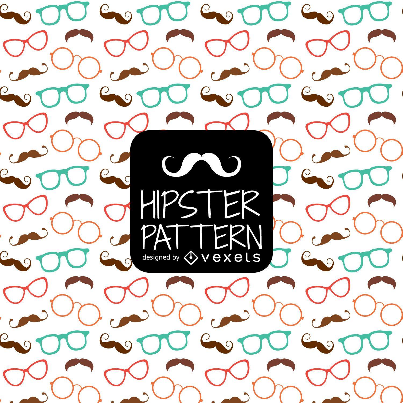 Patrón de bigote de gafas hipster