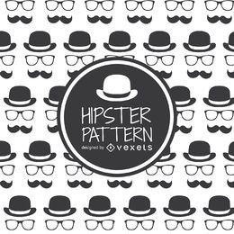 Sombrero de hipster con gafas y patrón de bigote.