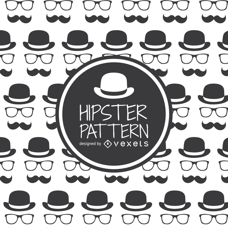 Gafas de sombrero hipster y patrón de bigote