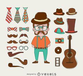 Hippie-Illustration mit Elementen