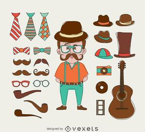 Ilustración de hipster con elementos