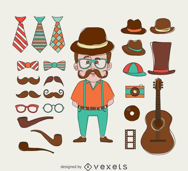 Ilustração de hipster com elementos