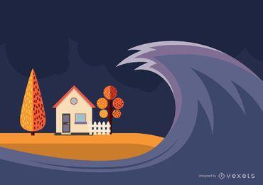 Diseño de ilustración de tsunami.