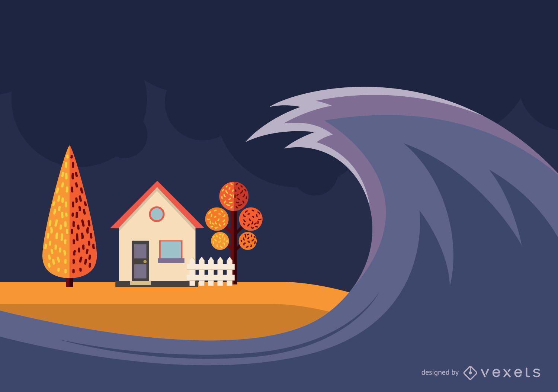 Diseño de ilustración de tsunami