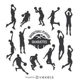 Jugadores de baloncesto siluetas conjunto