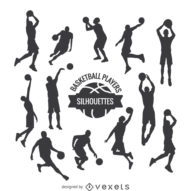Conjunto de silhuetas de jogadores de basquete