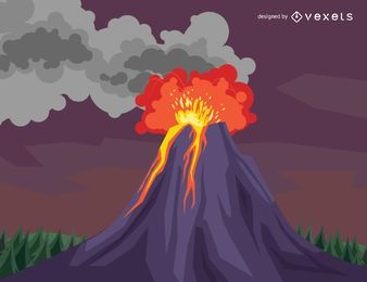 Dibujo de la erupción del volcán