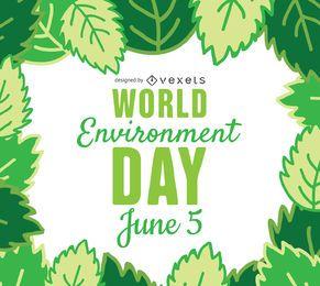 Marco de hojas del día mundial del medio ambiente