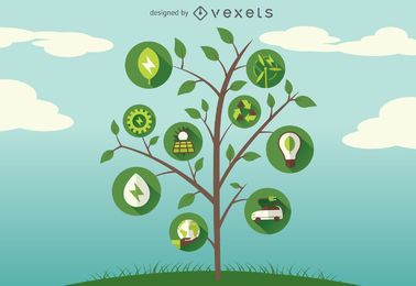 Ícones verdes da árvore de energia
